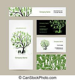 Diseño de tarjetas de negocios, árbol familiar