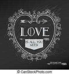 Diseño de tarjetas de San Valentín, amor, boda, en vector