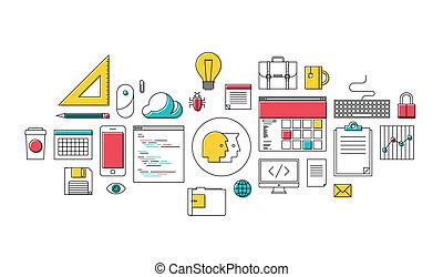 Diseño de telarañas y iconos de programación