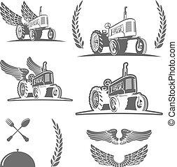 Diseño de tractores de granja retro. Vector