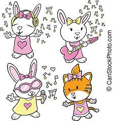 Diseño de vector musical de animales