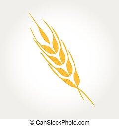 Diseño de vectores de vector de logo natural. Orejas de icono de trigo
