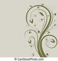 Diseño de vectores florales verde con espacio copiado.