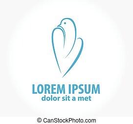 Diseño de vectores Logo Dove. Ave abstracta