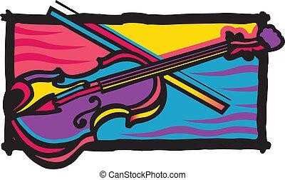 Diseño de violín multicolor