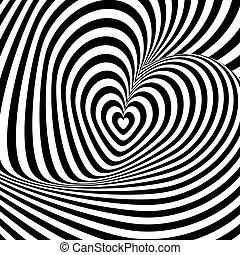 Diseño del corazón remolino rotación de fondo de ilusión de rotación