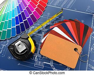 Diseño del interior. Materiales de arquitectura y planos