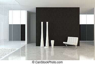 Diseño del interior moderno B+W
