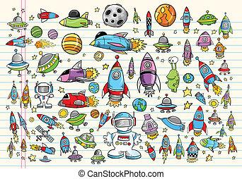 Diseño del vector espacial Doodle