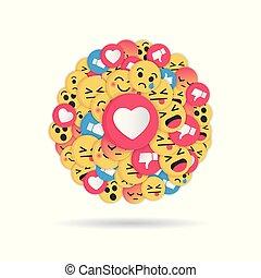 Diseño emoji moderno sobre fondo blanco. La red social emoticonos ilustra vector de ilustración.