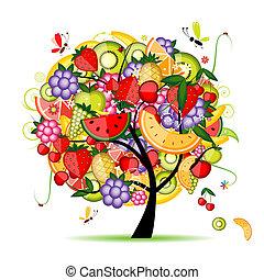 diseño, energía, árbol frutal, su