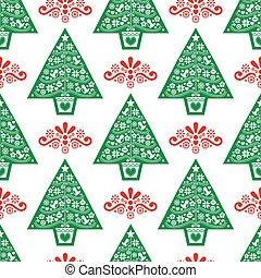diseño, escandinavo, pattern-, gente, navidad, verde, seamless, arte, flores, vector, aves, árbol, rojo, copos de nieve, estilo