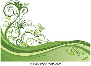 diseño floral, 1, frontera, verde