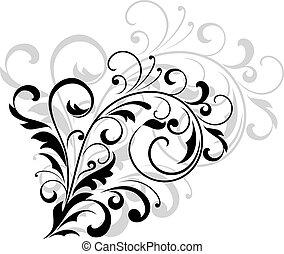 Diseño floral con hojas arremolinadas
