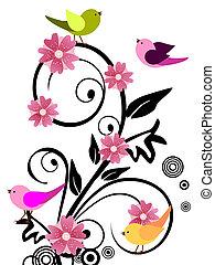 Diseño floral con pájaros