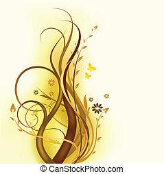 Diseño floral marrón