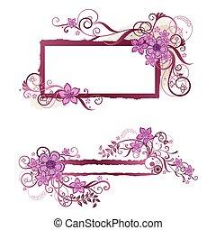 Diseño floral rosado y estandarte