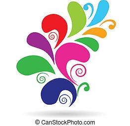 Diseño floral vector colorido