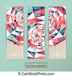 Diseño geométrico colorido para los estandartes