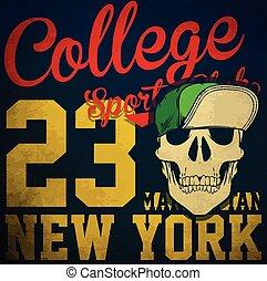Diseño gráfico de camisetas de cráneo universitario