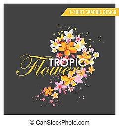 Diseño gráfico de flores tropicales