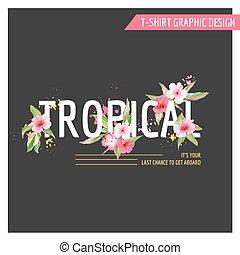 Diseño gráfico de flores tropicales para camisetas, moda, huellas en vector