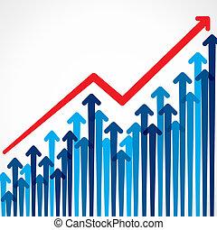 Diseño gráfico de negocios con flecha