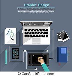 Diseño gráfico y concepto de herramientas de diseño