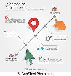 Diseño infográfico plantilla con elementos y iconos. Vector