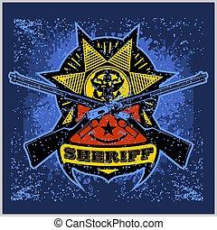 diseño, insignia, alguacil, winchesters, estrella, cruzado, cinta