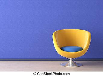 Diseño interior con silla amarilla en azul