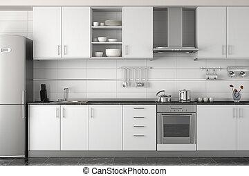 Diseño interior de cocina blanca moderna