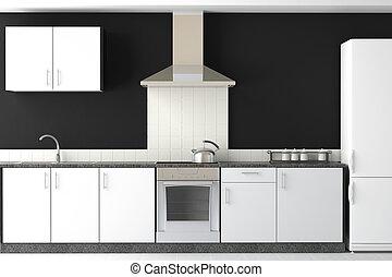 Diseño interior de cocina negra moderna