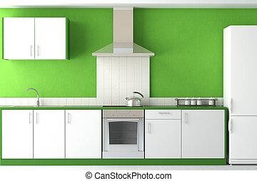 Diseño interior de cocina verde moderna