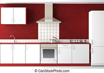 Diseño interior de la cocina moderna