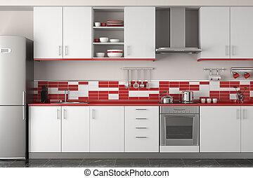 Diseño interior de la cocina roja moderna