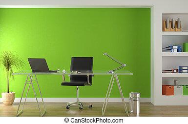 Diseño interior de la moderna oficina verde