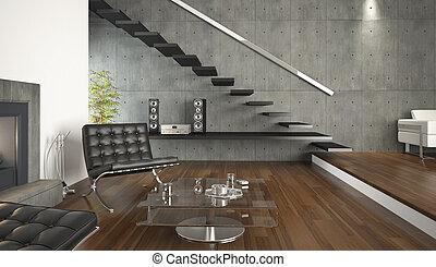 Diseño interior de la sala moderna