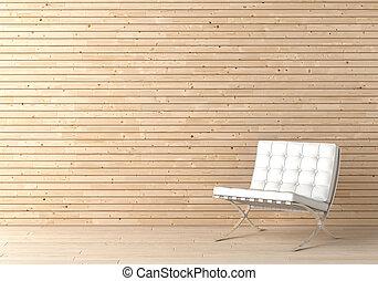 Diseño interior de madera y silla