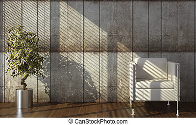 Diseño interior de pared de hormigón con sillón