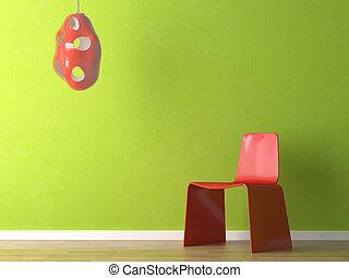 Diseño interior de silla roja en la pared verde