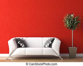 Diseño interior de sofá blanco en la pared roja
