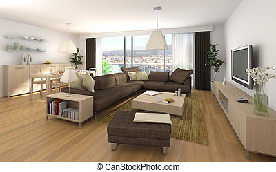 Diseño interior moderno de apartamento
