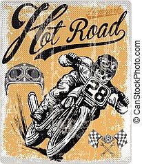 Diseño legendario de camisetas de los corredores clásicos con un piloto y una ilustración dibujada a mano de motocicleta