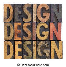diseño, madera, -, tipografía, vendimia