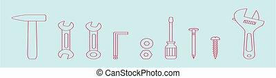 diseño, martillo, aislado, conjunto, herramientas, vario, plano de fondo, caricatura, vector, ilustración, icono, models., plantilla, azul