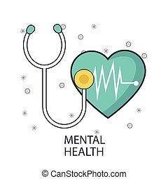 diseño, mental, corazón, estetoscopio, cardio, salud