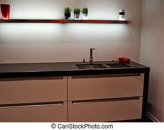 Diseño moderno de cocina blanca de madera