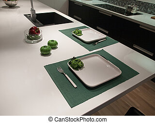 Diseño moderno de cocina blanca y negra