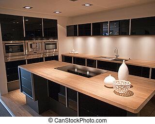 Diseño moderno de cocina de madera negra